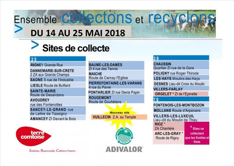 COLLECTE ADIVALOR - 14 AU 25 MAI 2018