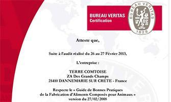 Certification « Guide de Bonnes Pratiques de la Fabrication d'Aliments Composés pour Animaux »